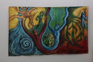acqua energia creativa olio su tela 250 x 180
